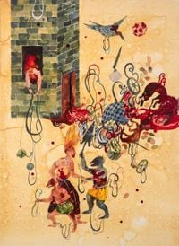 Hanging Man by Shiva Ahmadi contemporary artwork painting, works on paper, drawing