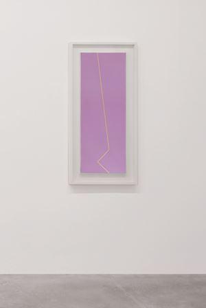 Fondo rosso viola linea gialla ocra by Mario Nigro contemporary artwork