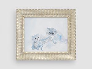 cats playing in the snow, Siberia by Karen Kilimnik contemporary artwork