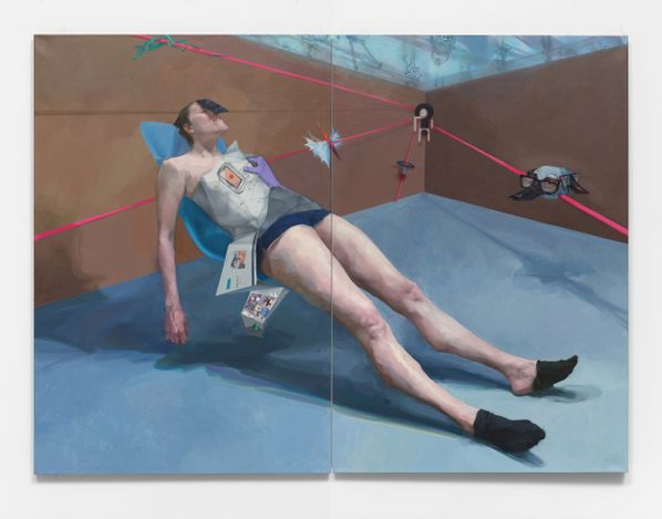 Deng Shiqing I'm tired(2021). Oil on canvas (diptych). 172.72 x 233.68 cm. Courtesy Simchowitz.