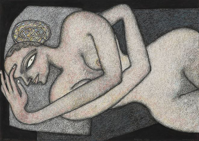 JOGEN CHOWDHURY, Woman Reclining (1999). Pen, ink and pastel on paper. 50 x 70 cm / 19.7 x 27.5 in. Courtesy Galerie Mirchandani + Steinruecke, Mumbai.