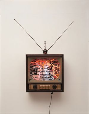 Neon TV - Love is 10,000 miles by Nam June Paik contemporary artwork sculpture, mixed media