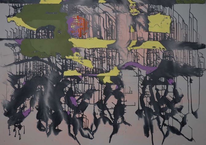 Rebekka Steiger, 翻風 (2020). Tempera, ink and oil on canvas. 170 x 240 cm. Courtesy the artist and Galerie Urs Meile, Beijing-Lucerne.