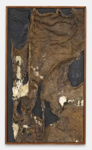 Sacco by Alberto Burri contemporary artwork painting, textile