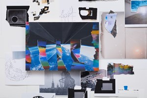 Afterimage, Folded Earth with Rainbow Disturbance (Painting in its Archive) by Sarah Sze contemporary artwork
