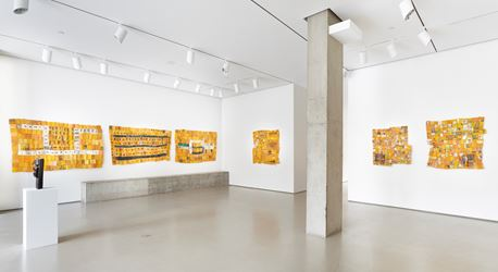 Exhibition view: Serge Attukwei Clottey,Differences between, Jane Lombard Gallery, New York (15 February–24 March 2018). Courtesy the artist and Jane Lombard Gallery.
