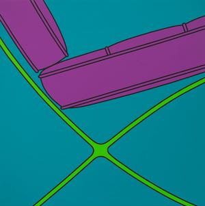 Untitled (Barcelona chair fragment turquoise) by Michael Craig-Martin contemporary artwork