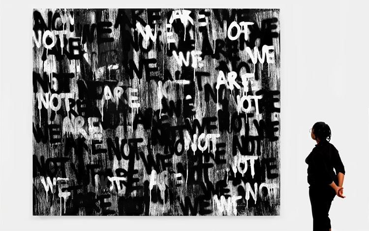 Adam Pendleton, Untitled (WE ARE NOT) (2020). Silkscreen ink on canvas. 120 x 144 x 2 inches. Courtesy David Kordansky Gallery.