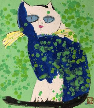 Blue and White Cat Chilling by Walasse Ting contemporary artwork