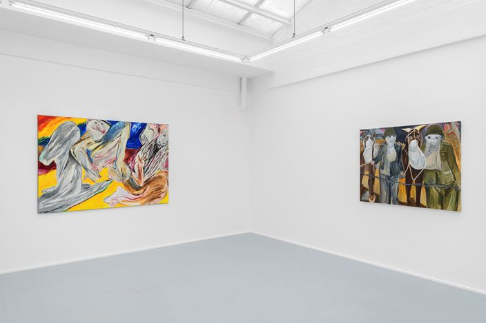 Exhibition view: Jacqueline de Jong, WAR paintings from 1994 to 2014, rodolphe janssen, Brussels (2 May–18 July 2020). Courtesy rodolphe janssen.Courtesy the artist and rodolphe janssen, Brussels. Photo: HV photography.