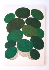 Green Mushrooms by Nobuko Watabiki contemporary artwork painting, works on paper, drawing