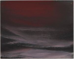 Untitled (Nocturne in red and black seascape with mist) by Frank Walter contemporary artwork