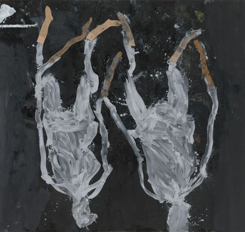 Georg Baselitz, Displaced persons (2020). Oil, dispersion adhesive, and nylon stockings on canvas. 195 x 310 cm.© Georg Baselitz. Courtesy Gagosian. Photo: Jochen Littkemann.