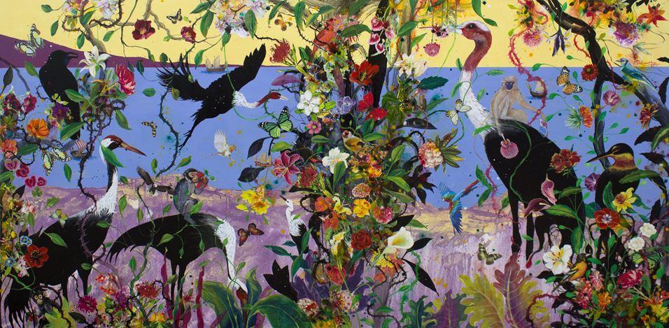 Priyantha Udagedara,Serendib 1,Mixed Media on Canvas, 122cm x 245cm. Courtesy Saskia Fernando Gallery.