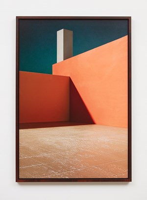Courtyard with Orange Wall by James Casebere contemporary artwork