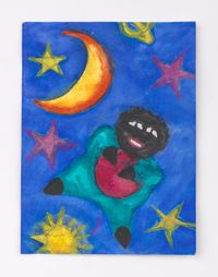 Floating Doll with Ball in the Galaxy by Betye Saar contemporary artwork painting