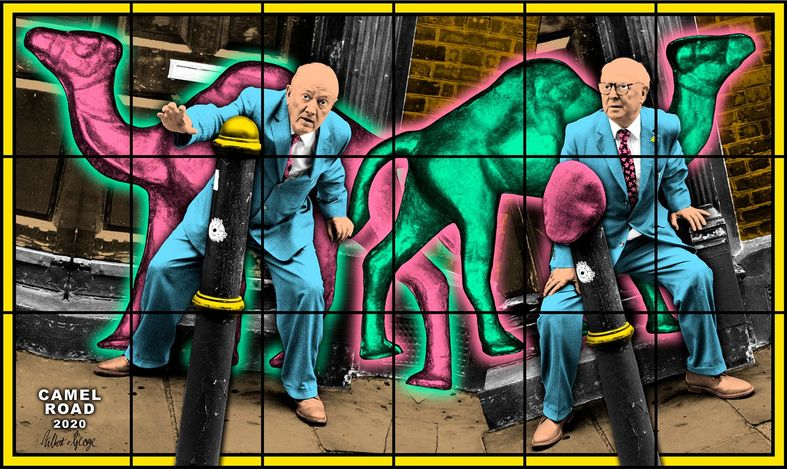 Gilbert & George, CAMEL ROAD (2020). Mixed media. 227 x 380 cm. © Gilbert & George. Courtesy the artists and Lehmann Maupin, New York and Hong Kong, Seoul, and London.