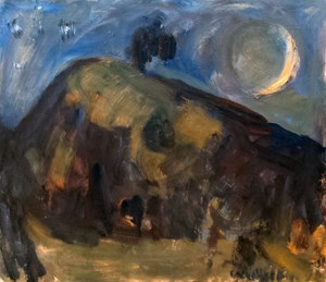 Pah Hill with Crescent Moon by Toss Woollaston contemporary artwork