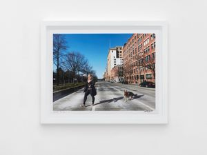 Woman and Dog walking across West Avenue 2020.5.10 by Liu Xiaodong contemporary artwork