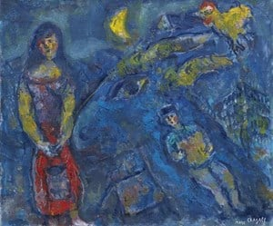 Scene de Village a L'Animal Bleu by Marc Chagall contemporary artwork