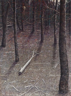 White log in glade by Thornton Walker contemporary artwork