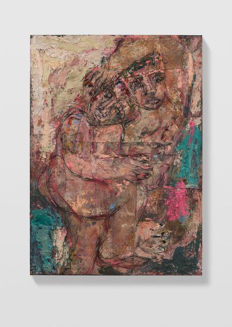 Couples 4 (cream, Veronese green and fuchsia) by Daniel Crews-Chubb contemporary artwork