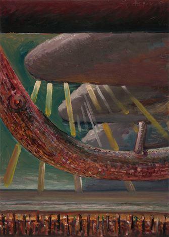 V.N. Joythi Basu, Resurrection Series (Rays 2) (1999). Oil on paper. 71 x 51 cm.Courtesy Galerie Mirchandani + Steinruecke, Mumbai.