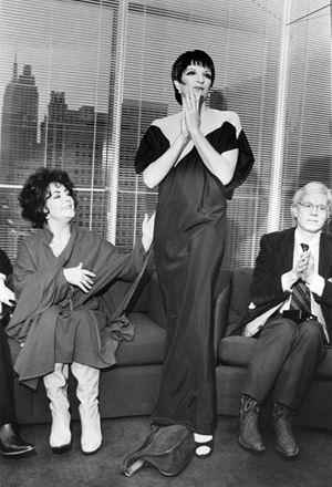 Elizabeth Taylor, Liza Minelli (in Halston) and Andy Warhol by Bill Cunningham contemporary artwork