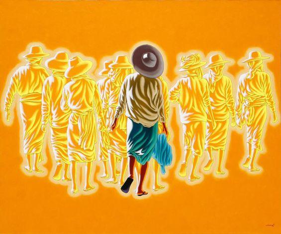 Min Wae Aung,Traveller 14(2018). Acrylic on canvas. 153 x 183 cm.Courtesy Karin Weber Gallery, Hong Kong.
