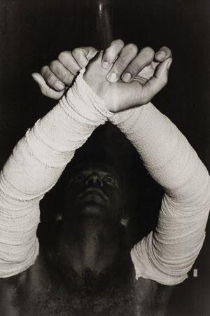 Sem Titulo 10 (Performance com bandagem cirurgica | negativo #26) by Ivens Machado contemporary artwork