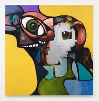 Father and Daughter with Face Mask by George Condo contemporary artwork painting, drawing