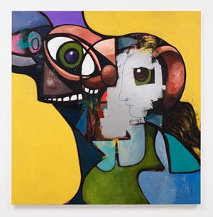 Father and Daughter with Face Mask by George Condo contemporary artwork