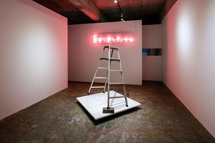 Exhibition view: David Shrigley, Jiro Takamatsu,Brick, Stepladder, and Neon,Yumiko ChibaAssociates, Tokyo (18 July–29 August 2020). Courtesy Yumiko Chiba Associates, Tokyo.