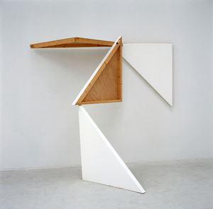4 morceaux d'un carré (tableau) assemblés 2 par 2 perpendiculairement à l'aide d'un seul clou by François Morellet contemporary artwork