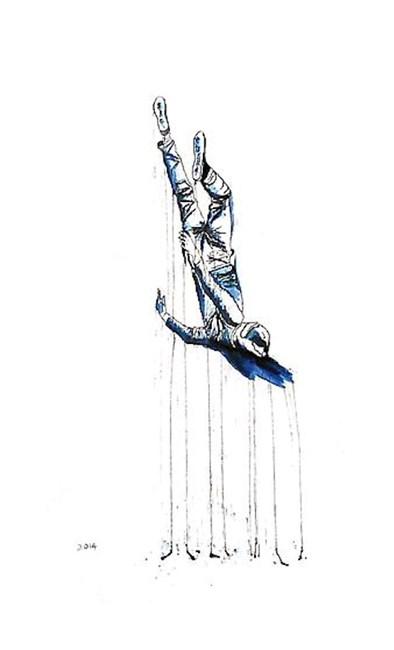 Self Portrait (Falling Dogman) by Jason Wee contemporary artwork