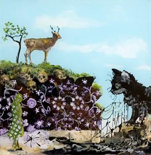 (Katze mit Hirsch) by Wolf Hamm contemporary artwork