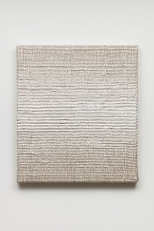 Woven Horizontal Reflected Linear Gradient as Weft (Center, White) by Analia Saban contemporary artwork