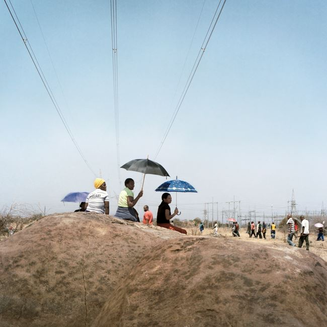 Sitting on koppie during the last days of the strike, Marikana by Thabiso Sekgala contemporary artwork