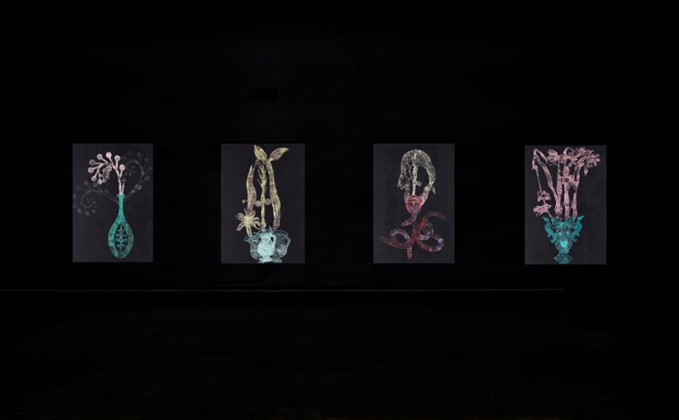 Exhibition view: Caroline Rothwell, Bloom Lab, Tolarno Galleries, Melbourne (9 September–2 October 2021). Courtesy Tolarno Galleries.