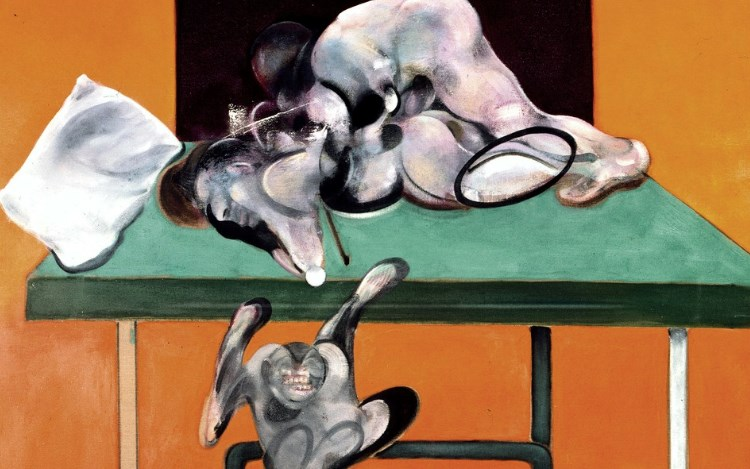 Francis Bacon, Two Figures with a Monkey (1973) (detail). Oil on canvas. 78 × 58 1/8 inches / 198 × 147.5 cm. © The Estate of Francis Bacon. All rights reserved, DACS/Artimage 2019. Photo: Prudence Cuming Associates Ltd