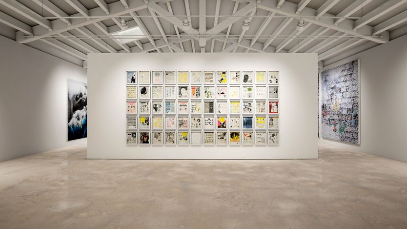 Exhibition view: Group Exhibition, Beside Itself, created in HWVR picturing Ellen Gallagher, DeLuxe (2004–2005), Mark Bradford, Chicago (2019) and Lorna Simpson, Ice 4 (2018). © the artists. Courtesy the artists and Hauser & Wirth.