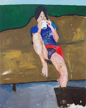Sungtae Kim - Drinking coffee in my chinatown Studio by Henry Taylor contemporary artwork