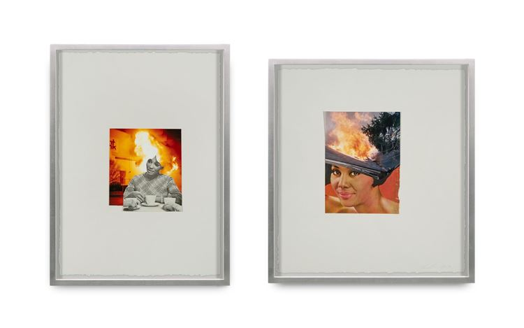 Lorna Simpson, Flames (2019). Found photograph and collage on paper; 2 framedcollages. Overall installation dimensions variable (left to right eachframed collage dimensions below). #1: 48.3 x 36 x 3.8 cm; #2: 44.8 x 41.4 x 3.8 cm. © Lorna Simpson. Courtesy the artist and Hauser & Wirth. Photo: James Wang