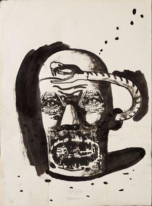 Listen by Damien Deroubaix contemporary artwork painting, works on paper
