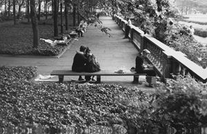 Couple and lady, Bryant Park by Roy DeCarava contemporary artwork