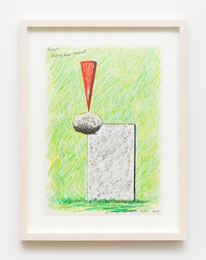 Floating Form - Red (Project Drawing) by Keiji Uematsu contemporary artwork works on paper, drawing