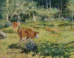 Femme trayant une vache by Charles Angrand contemporary artwork