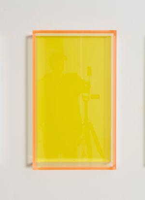 Colormirror pastel yellow Milan acrylic glas by Regine Schumann contemporary artwork
