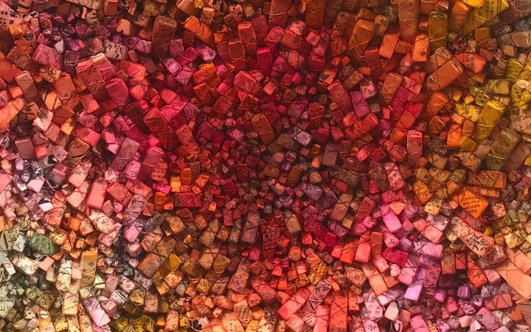 Chun Kwang Young, Aggregation 20 - FE010 (2020) (detail).Mixed media with Korean mulberry paper. Ø 115 cm. Courtesy Sundaram Tagore Gallery.