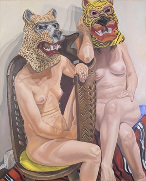 Two Models in Masks with African Chair by Philip Pearlstein contemporary artwork